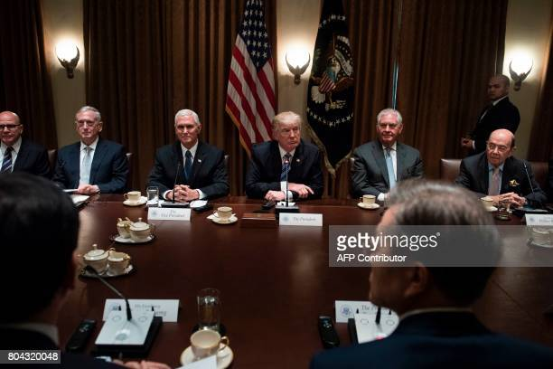 From left National Security Advisor H R McMaster US Secretary of Defense James Mattis US Vice President Mike Pence US President Donald Trump US...