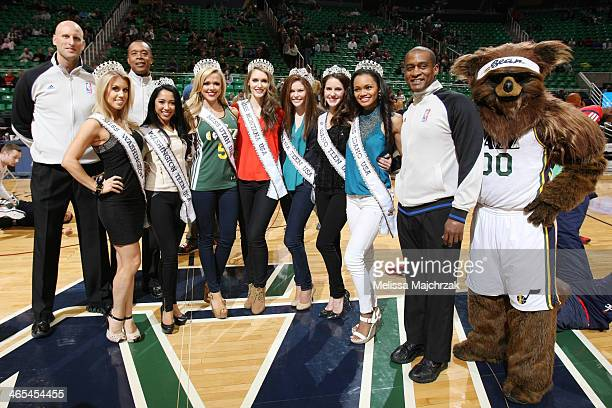 From left NBA referees Eric Dalen and Rodney Mott and winners of state Miss pageants and Teen Miss pageants referee Derrick Collins Utah Jazz bear...