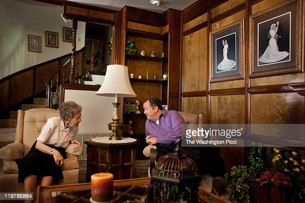 From left Nellie Romney and her nephew Jeff Romney talk at Meredith Romney's house in Colonia Juarez Mexico in July 2011 United States Presidential...