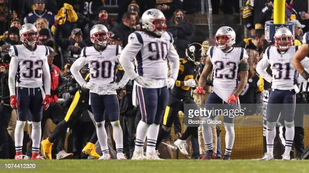 From left New England Patriots defenders Devin McCourty Jason McCourty Malcolm Brown Patrick Chung and Jonathan Jones react after Steelers wide...