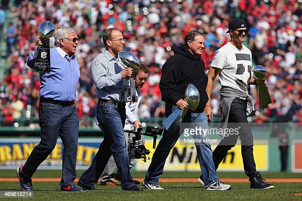 From left New England Patriots owner Robert Kraft New England Patriots President Jonathan Kraft head coach Bill Belichick and quarterback Tom Brady...