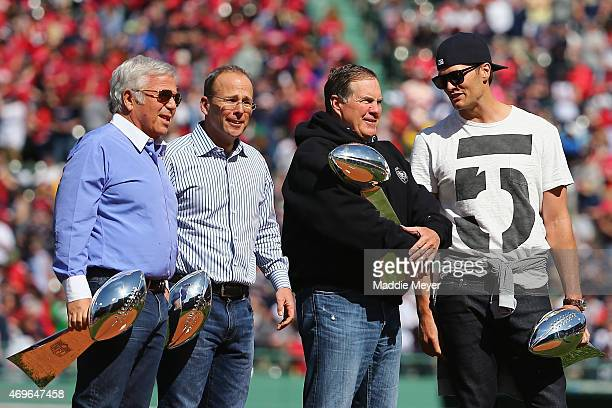 From left New England Patriots owner Robert Kraft New England Patriots President Jonathan Kraft head coach Bill Belichick and quarterback Tom Brady...