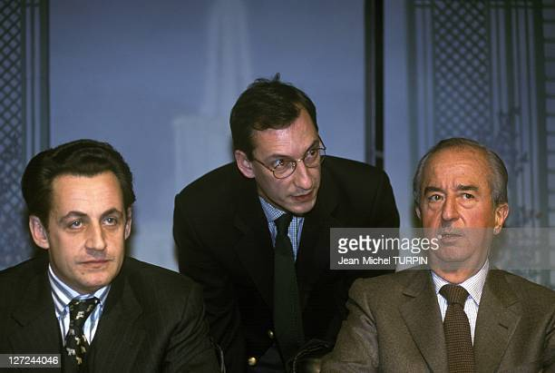 From left Nicolas Sarkozy Nicolas Bazire and Edouard Balladur attending the colloquium of the French Association for Reform on December 14 1996 in...