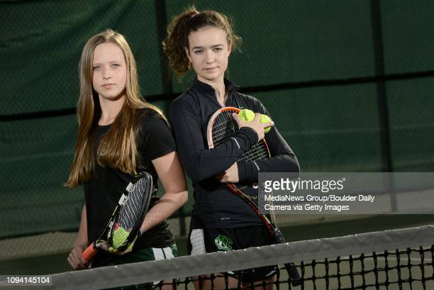 Niwot High School's Taylor Thulson and Julia Pentz pose for a portrait on Thursday