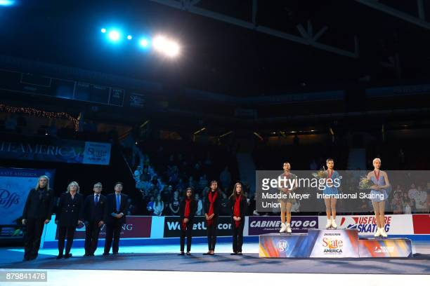From left on podium silver medalist Kaori Sakamoto of Japan gold medalist Satoko Miyahara of Japan and bronze medalist Bradie Tennell of the United...