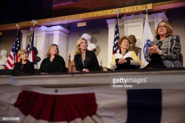 From left panel members Martha Coakley Jane Swift Kerry Healey and Evelyn Murphy listen to Shannon O'Brien during Nonpartisan Lessons Learned Shared...