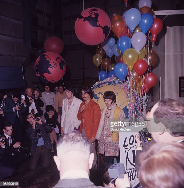 Paul McCartney George Harrison and Ringo Starr of The Beatles meet the press before performing their song 'All You Need Is Love' on satellite link up...