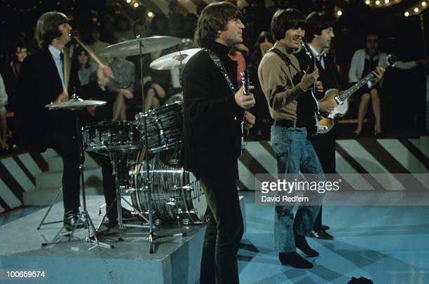 Ringo Starr John Lennon George Harrison and Paul McCartney of The Beatles perform on Thank Your Lucky Stars television show filmed at Alpha...