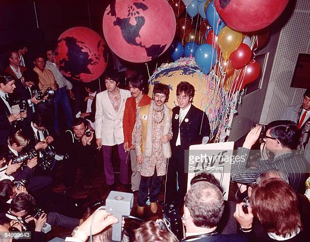 Paul McCartney George Harrison Ringo Starr John Lennon posed group shot for press before performing All You Need Is Love on Our World satellite link...