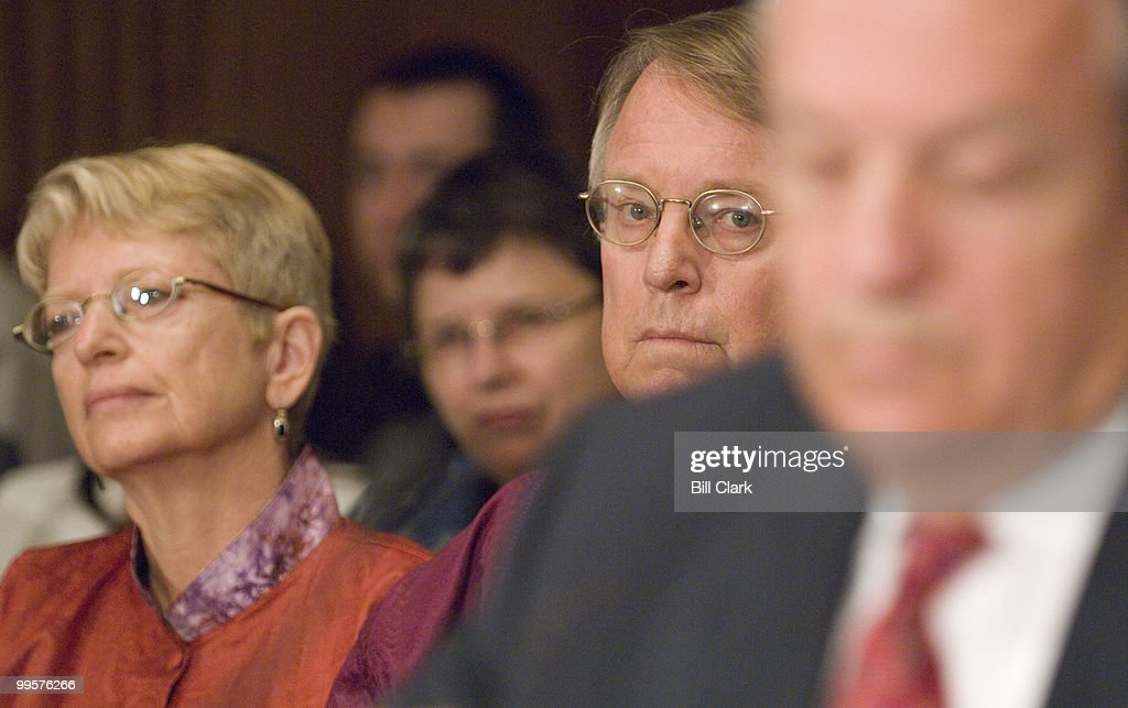 From left, Paula Hirschoff and Chuck Ludlam, Peace Corps volunteers for Senegal, listen as Ronald Tschetter, director of the Peace Corps testifies during the Senate Foreign Relations Committee Western Hemisphere, Peace Corps, and Narcotics Affairs Subcommittee hearing on 'Enhancing The Peace Corps Experience: S.732, the 'Peace Corps Volunteer Empowerment Act'' on Wednesday, July 25, 2007.