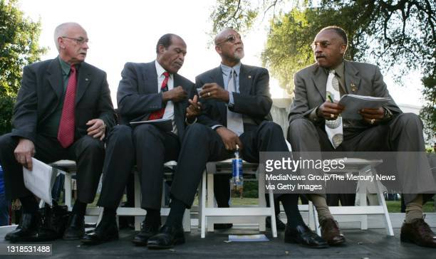 From left: Peter Norman, 1968 Austrailian Olympic medalist and activist; Lee Evans, 1968 San Jose State University Olympic medalist and activist;...