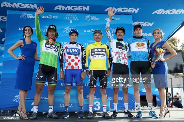 From left Peter Sagan of Slovakia riding for Borahansgrohe in the Visit California Sprint Leader jersey Daniel Alexander Jaramillo of Columbia riding...
