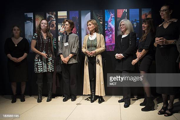 From left photographers Erika Larsen Amy Toensing Diane Cook Beverly Joubert Jodi Cobb Lynsey Addario and Maggie Steber listen to a speaker at the...