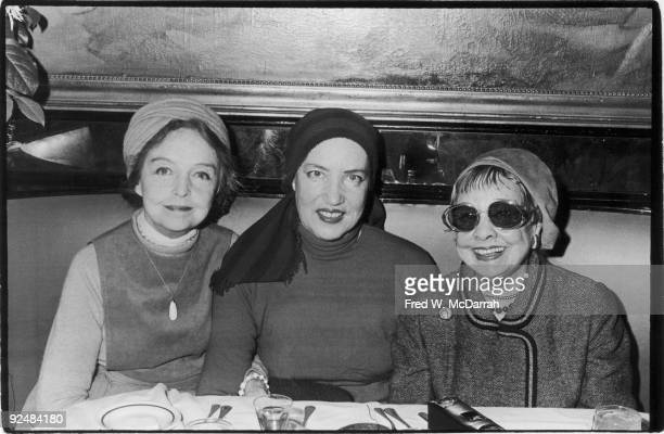From left portrait of American actress Lillian Gish former socialite fashion model Edith Bouvier Beale and author and screenwriter Anita Loos as they...