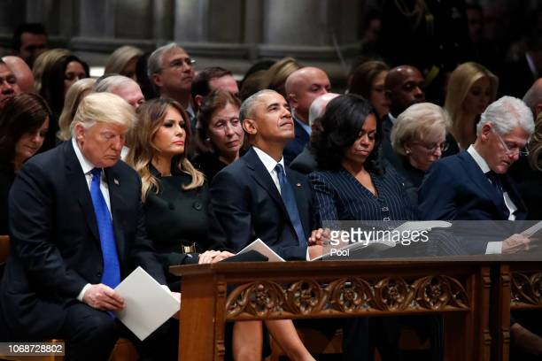 From left President Donald Trump first lady Melania Trump former President Barack Obama former first lady Michelle Obama and former President Bill...