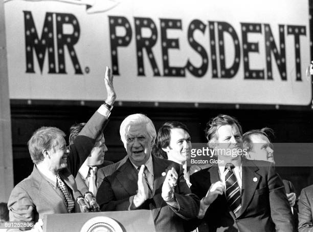 From left President Jimmy Carter House Speaker Thomas P Tip O'Neill Jr and Senator Edward M Kennedy greet the crowd at Lynn City Hall in Lynn MA on...