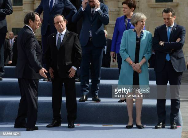 President of Cyprus Nicos Anastasiades France's President Francois Hollande British Prime Minister Theresa May and Federal Chancellor of Austria...