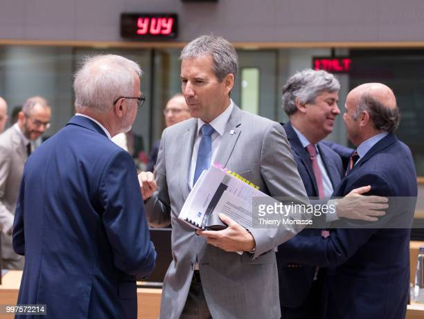 President of the European Investment Bank Werner Hoyer is talking with the Austrian Finance Minister President of the Council Hartwig Loeger the...