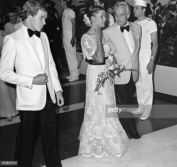 From left Prince Albert Princess Caroline and Prince Rainier III open 07 August 1976 in MonteCarlo the traditional Red Cross bal Prince Albert born...