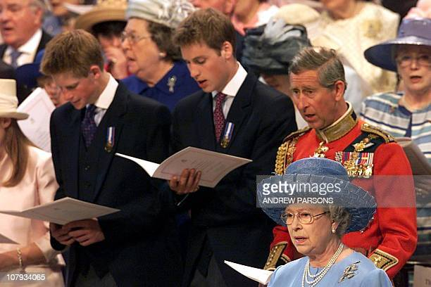 Prince Harry Prince William Prince Charles and the Queen Elizabeth II attend a service 04 June 2002 at St Paul's Cathedral during a service of...