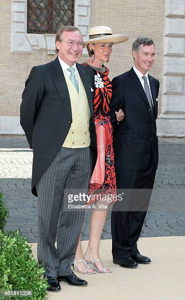 From left Prince Jean of Luxembourg Countess Diane de Nassau and Prince Guillaume of Luxembourg attend the wedding of Prince Amedeo of Belgium and...