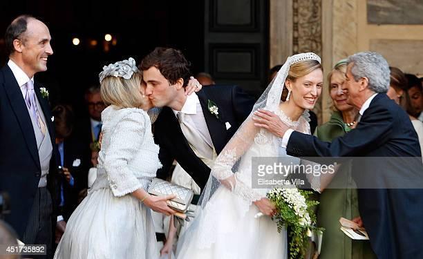 From left, Prince Lorenz and Princess Astrid of Belgium, Prince Amedeo of Belgium, the bride Elisabetta Maria Rosboch von Wolkenstein, Lilia and...