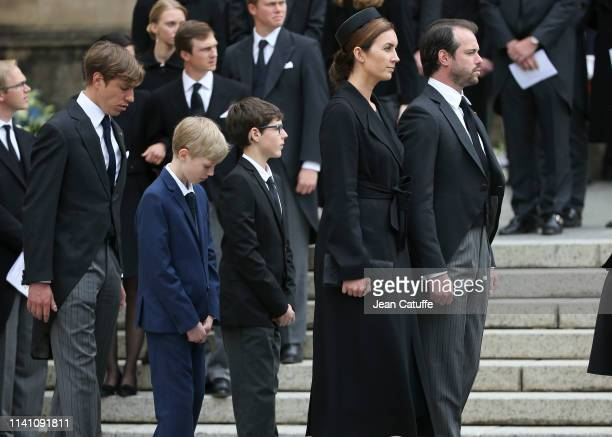 From left Prince Louis of Luxembourg his sons Prince Noah of Nassau and Prince Gabriel of Nassau Prince Felix of Luxembourg and Princess Claire of...