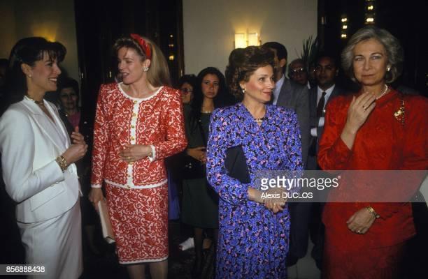 From left, Princess Caroline of Monaco, Queen Noor of Jordan, Suzanne Mubarak and Queen Sofia of Spain at Unesco evening gala on February 11, 1990 in...