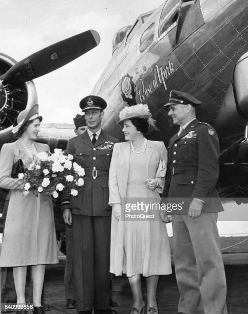 From left Princess Elizabeth King George VI Queen Elizabeth US Army Air Forces James H Doolittle at the christening of the Boeing B17 bomber 'Rose of...
