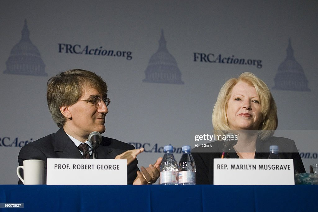 From left, Prof. Robert George, of Princeton, Univ., and Rep. Marilyn Musgrave, R-Colo., participate in the 'Preservation of Traditional Marriage' panel during the Family Research Council's 2006 Values Voter Summit in Washington on Sept. 22, 2006. Photo by Bill Clark for The Rocky Mountain News.