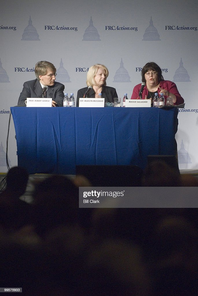 From left, Prof. Robert George, of Princeton, Univ., Rep. Marilyn Musgrave, R-Colo., and syndicated columnist Maggie Gallagher participate in the 'Preservation of Traditional Marriage' panel during the Family Research Council's 2006 Values Voter Summit in Washington on Sept. 22, 2006.