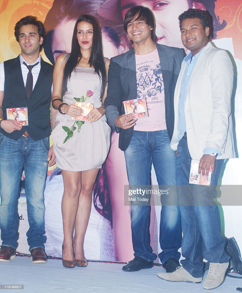 From left Pulkit Neha Dhupia Apoorv Gupta and Vivek Oberoi at the launch of `Ek Ladki Shabnmi Jaisi` album