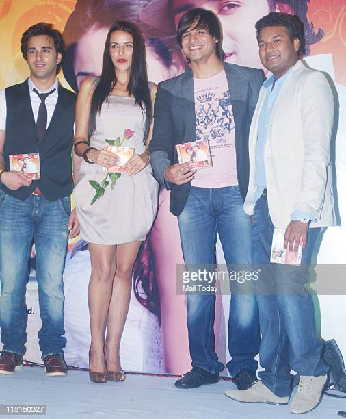 From left Pulkit Neha Dhupia Apoorv Gupta and Vivek Oberoi at the launch of 'Ek Ladki Shabnmi Jaisi' album