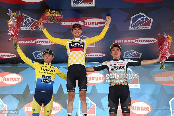 From left Rafal Majka of Poland riding for TinkoffSaxo in second winner of the stage Tejay van Garderen of the United States riding for the BMC...