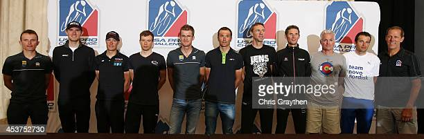 From left Rafal Majka of Poland riding for TinkoffSaxo Tejay van Garderen of the USA riding for Team BMC Tom Danielson of the USA riding for Team...