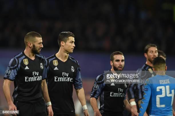 Real Madrid's French forward Karim Benzema Real Madrid's Portuguese forward Cristiano Ronaldo and Real Madrid's defender Dani Carvajal during the...