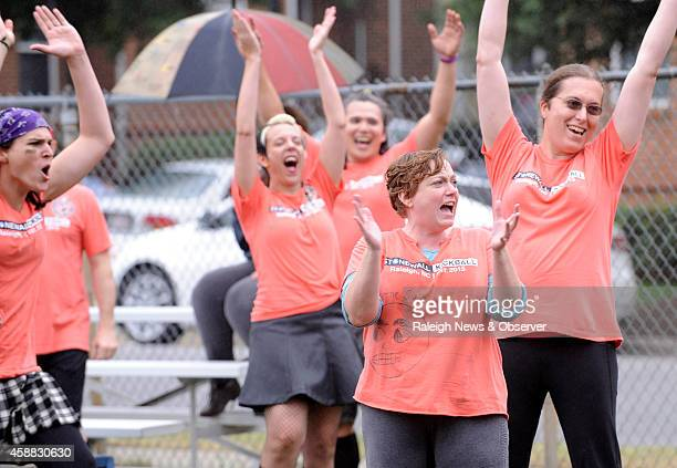 From left Rebecca Chapin Holly Owens Abby Malson Alice Sarti and Rafaela Silva celebrate after a home run by a Snatching Fire teammate during a...