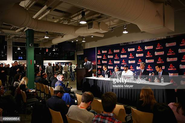 From left Red Sox Owner John Henry Chairman Tom Werner pitcher David Price President of Baseball Operations Dave Dombrowski and General Manager Mike...