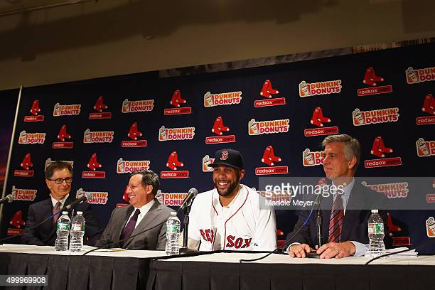 From left Red Sox Owner John Henry Chairman Tom Werner pitcher David Price President of Baseball Operations Dave Dombrowski during Price's...