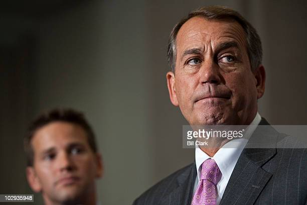 From left Rep Aaron Schock RIll and House Minority Leader John Boehner ROhio speak to the media following the Republicans' America Speaking Out forum...