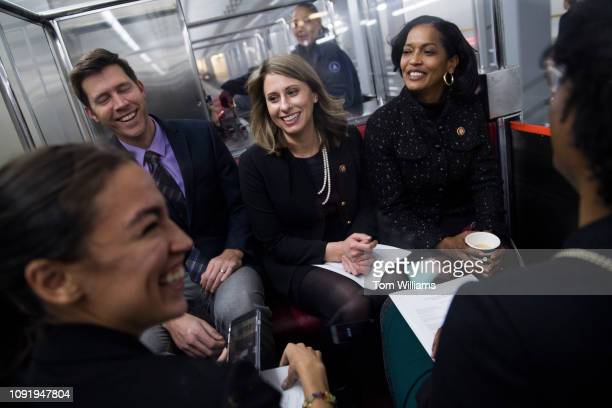 From left Rep Alexandria OcasioCortez DNY aide Dan Riffle Reps Katie Hill DCalif Jahana Hayes DConn and Lauren Underwood DIll ride the Senate subway...