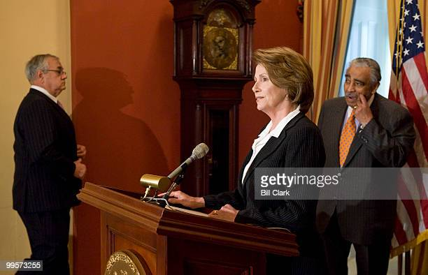 From left Rep Barney Frank DMass Speaker of the House Nancy Pelosi DCalif and Rep Charlie Rangel DNY arrive for their news conference on the economy...