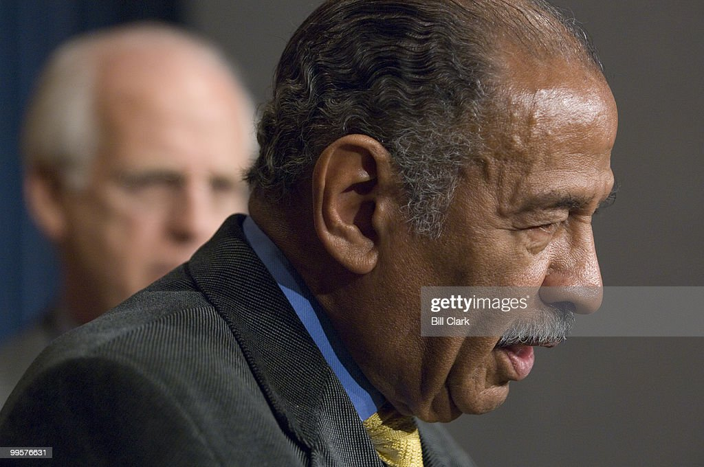 From left, Rep. Christopher Shays, R-Conn., and House Judiciary Chairman John Conyers, Jr., D-Mich., participate in the news conference to introduce the 'End Racial Profiling Act of 2007,' on Thursday, Dec. 13, 2007.
