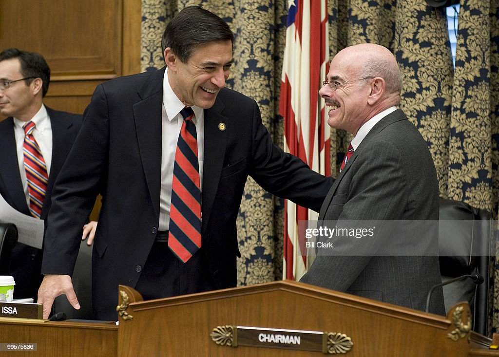 From left, Rep. Darrell Issa, R-Calif., and chairman Henry Waxman, D-Calif., talk before the start of Rep. Waxman's last hearing as chair of the House Oversight and Government Reform Committee on Tuesday, Dec. 9, 2008. The hearing focused on the role of Fannie Mae and Freddie Mac in the ongoing financial crisis.