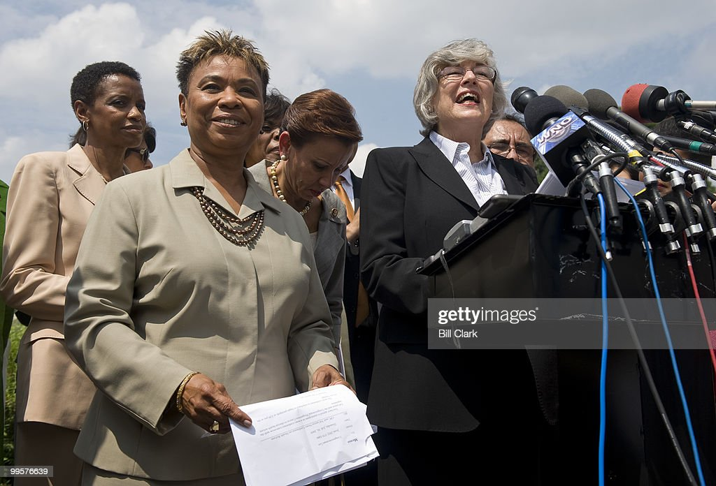 From left, Rep. Donna Edwards, D-Md., Rep. Barbara Lee, D-Calif., Rep. Nydia Velazquez, D-N.Y., Rep. Lynn Woolsey, D-Calif., and others members of the Tricaucus, hold a news conference on healthcare reform legislation on Thursday, July 30, 2009.
