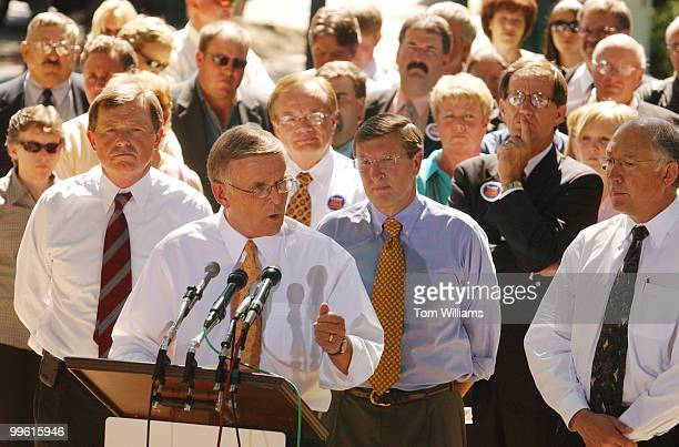 From left Rep Earl Pomeroy DND Sens Byron Dorgan DND Kent Conrad DND and Ken Salazar DColo attend a news conference with more than 100 family farmers...
