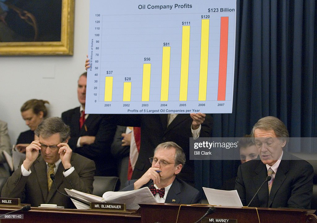 From left, Rep. Jay Inslee, D-Wash., and Rep. Earl Blumenauer, D-Ore., listen as chairman Edward Markey, D-Mass., makes his opening statement during the House (Select) Energy Independence and Global Warming Committee hearing on 'Drilling for Answers: Oil Company Profits, Runaway Prices and the Pursuit of Alternatives,' on Tuesday, April 1, 2008.