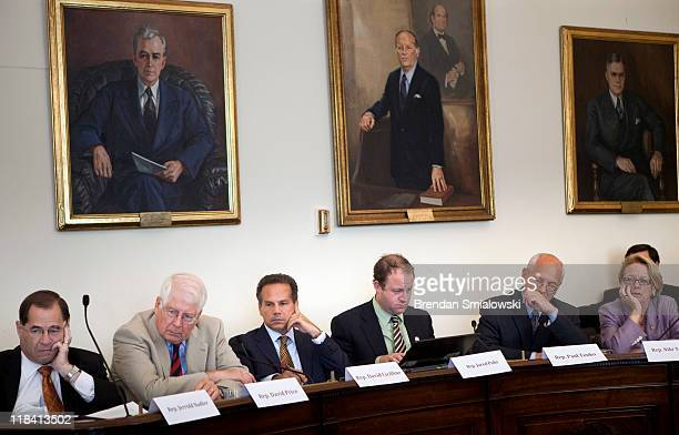 From left Rep Jerry Nadler Rep David Price Rep David Cicilline Rep Jared Polis Rep Paul Tonko and Rep Niki Tsongas listen during a hearing of the...
