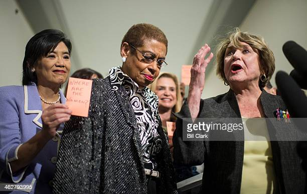 From left Rep Judy Chu DCalif Del Eleanor Holmes Norton DDC and Rep Louise Slaughter DNY cochairwoman of the ProChoice Caucus participate in a news...