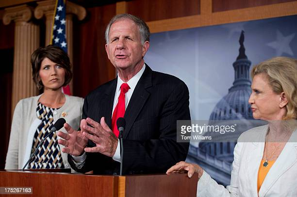 From left Rep Kristi Noem RSD Ted Poe RTexas and Carolyn Maloney DNY conduct a news conference in the Capitol on legislation to reduce human...